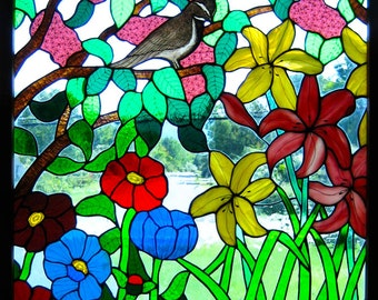 Sparrow floral stained glass framed window panel, lilacs, lilys, and other flowers, with translucent glass, one of a kind, ready to ship.
