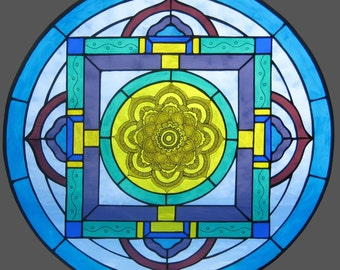 Mandala stained glass art window panel with flower center. Beautiful transparent glass with traditional kiln fired painting technique.