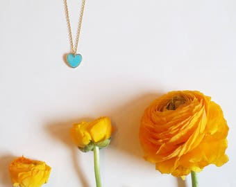 Blue Heart  Necklace. Love Necklace.  Minimalistic necklace.  Heart necklace. Valentines Day Gift Gift for her