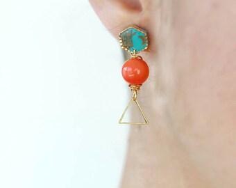 Valentine's Day GiftGeometric Post Earrings /  Geometric earrings /  Dainty jewelry / Gift for her