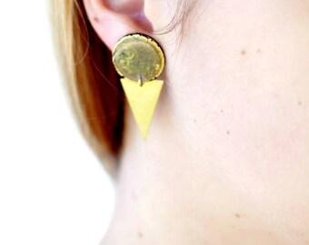 Geometric triangle earrings. Gold earrings Triangle eaarrings Statement jewelry
