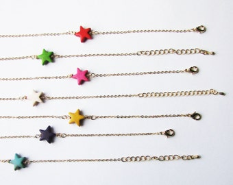 Valentine's Day GiftGift for her / Minimalist stackable bracelet / Star bracelet /  Gift for her / Choose your color bracelet /