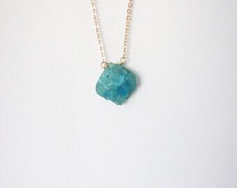 Valentine's Day GiftRaw Quartz blue Necklace. Raw Quartz  Necklace Boho chic