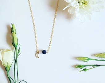 Crescent moon  necklace. Moon necklace Planet jewelry