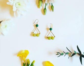 Triangle Earrings   Geometric earrings Green Earrings Dainty jewelry  Gift for her