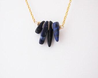 Dainty Lapis Lazuli necklace. Minimalistic necklace. Dainty jewelry