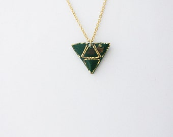 Valentine's Day GiftGreen triangle  necklace. Minimalistic necklace.  Fashion necklace For her Mint