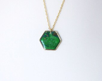 Green hexagon necklace. Minimalistic necklace.  Fashion necklace  Mint necklace