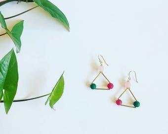 Triangle Earrings   Geometric earrings  Dainty jewelry  Gift for her