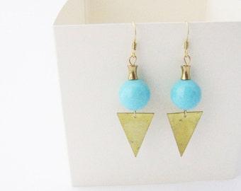 Valentine's Day GiftBlue triangle Earrings   Geometric earrings  Dainty jewelry  Gift for her