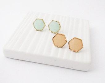 Hexagon Post Earrings. Mint studs . Peach studs. Choose your color studs. Geometric mint hexagon earrings. Dainty jewelry