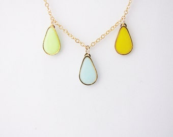 Valentine's Day GiftPastel drop necklace. Minimalistic necklace. Geometric necklace Fashion necklace