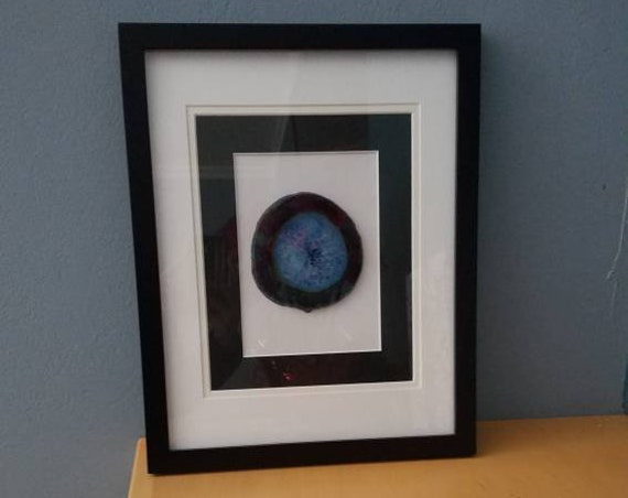 Geode rock slice matted 11x14 frame
