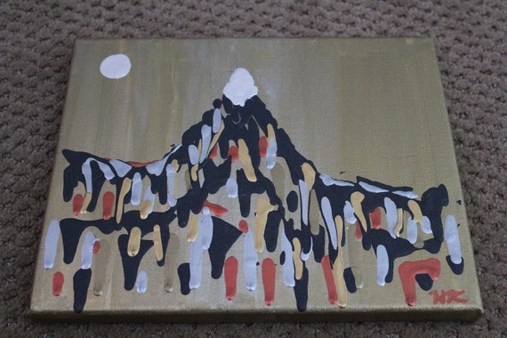 Mountain and Moon, original, one of a kind, acrylic drip painting on stretched canvas