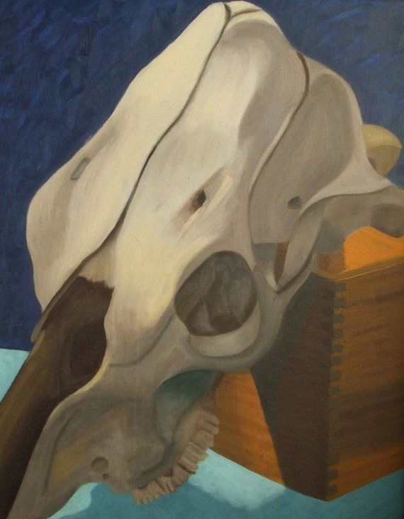 Reduced Price/Sale--Cow Skull--Print on canvas paper matted and framed
