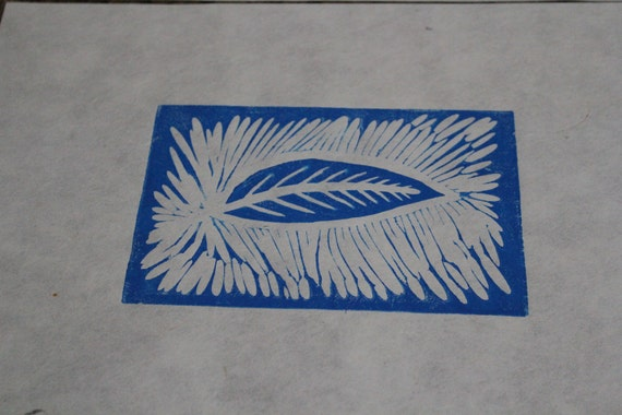 Leaf Wood block print on 9x12 paper