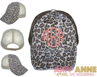Monogrammed Leopard Trucker Hat with Tan Mesh Embroidered Baseball Cap  Animal Print Distressed d71afd59e69d
