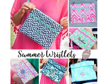 Summer Beach Wristlet | Wet Bag | Personalized Wristlet | Beach Wristlet | Clutch | Monogrammed Wristlet | Summer Wallet | Zip Pouch Zipper