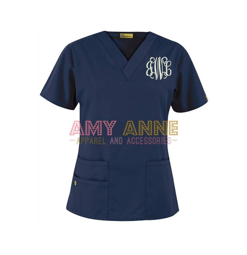 d44d6f97010 Monogrammed Nurse Scrub Top Nursing Medical Apparel Doctor | Etsy