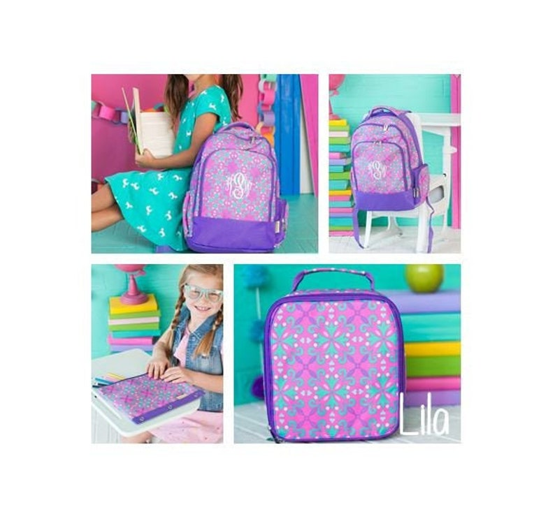 26c45425214f 2019 Girls Personalized Backpack, Girls Lunchbox, Back To School, Bookbag  and Lunch box, Personalized Monogrammed, Lila