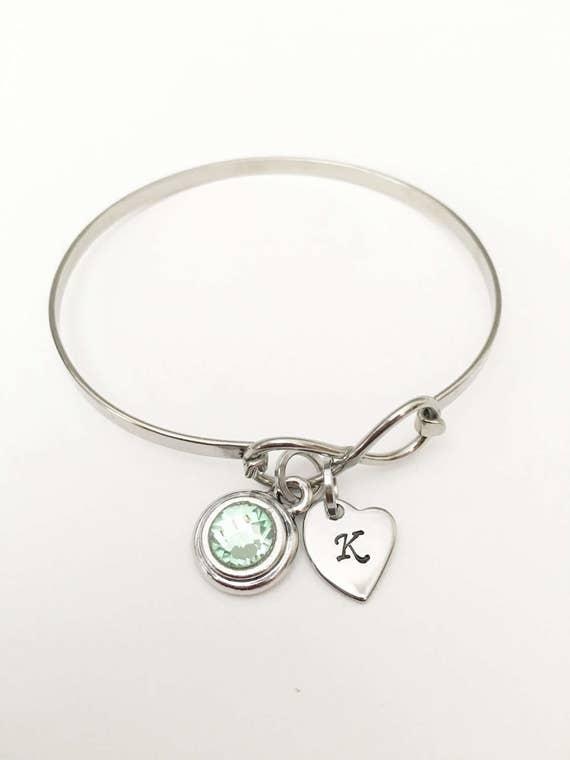 Personalized Eternity Charm Bracelet Infinity Symbol Bangle Etsy
