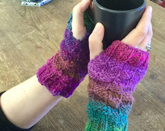 fast and easy check wristwarmer mittens knitting pattern