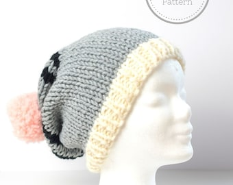 chunky slouchy beanie hat knitting pattern - instant download - super bulky
