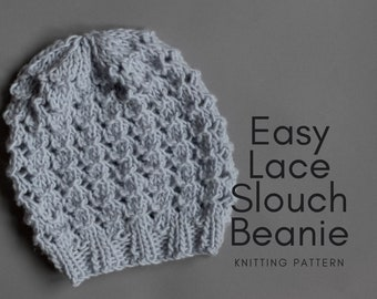 easy lace slouch hat knitting pattern - instant download - super bulky