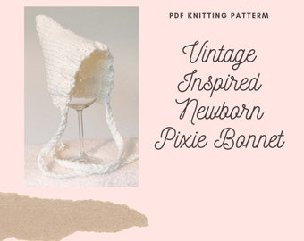 knitting pattern for baby pixie bonnet - instant download PDF - photo prop hat - easy beginner knitting pattern