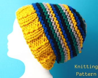 big stripes slouch hat knitting pattern - instant download - super bulky