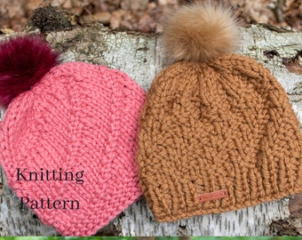 adult spiral beanie hats knitting pattern - instant download - super bulky - two designs