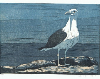 Black-backed Gull Block Print