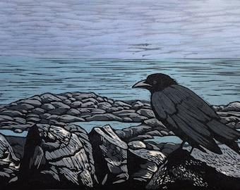 Crow on the Marginal Way, Ogunquit, Maine