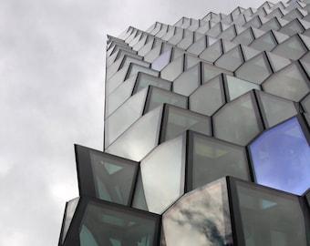 Harpa, Reykjavik, Iceland, Architecture, Geometric Shapes, Colored Glass, Gray, Purple