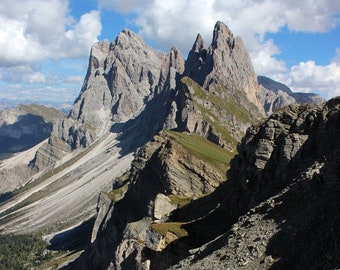 Italian Alps, Dolomites, Italy Photography, Mountain Photography, Alpine Meadows, Blue Sky, Puez-Odle Group, Travel Photography