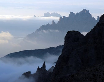 Italian Alps, Valley Fog, Mountain Peaks, Dolomites, Misty Morning, Mystical Mountains, Mountain Silhouettes, Mountain Ridges