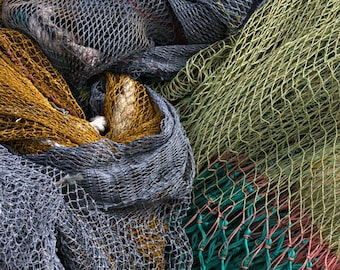 Iceland, Ísafjörður, Fishing Nets, Colored Nets, Abstract Patterns, Gray, Green, Gold