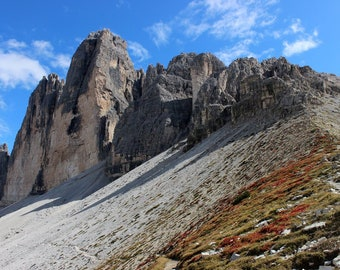 Tre Cime, Italian Alps, Dolomites, Fall Color, Alpine Meadows, Mountain Photography, Travel Photography, Blue Sky