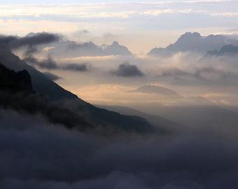 Italian Alps I, Valley Fog, Mountain Peaks, Dolomites, Misty Morning, Mystical Mountains, Mountain Silhouettes, Mountain Ridges