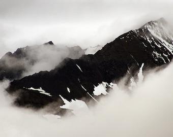 Kluane National Park III, Yukon Territory, Alaska Highway, Dramatic Clouds, Mountain Photography, Landscape Photography, Black & White