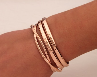 Hammered Cuff Bracelets, 14K Rose Gold Filled