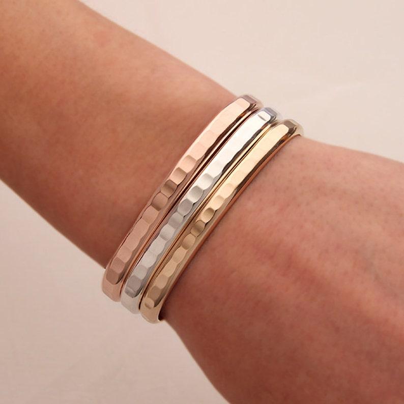 7a419af43ff Thick Hammered Cuff Bracelets Gold Rose Gold Silver | Etsy
