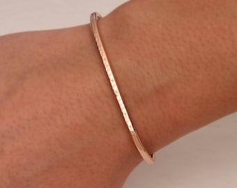 Hammered Cuff Bracelet, 14K Rose Gold Filled (350str.rgf)