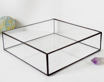 "Large Glass Jewelry Box, 12""x 12""x 3"" Wedding Card Box, Gift For Her, Wedding Display Box, Clear Glass Jewelry Box."