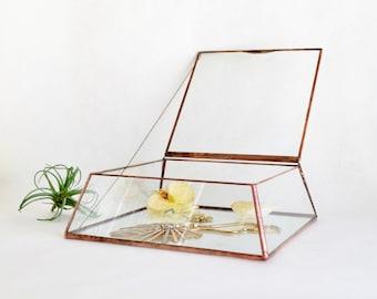 Glass Jewelry Box Wedding Card Box Display Box Clear Glass Jewelry Box Truncated Pyramid Box by jacquiesummer