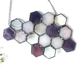 Stained Glass Beehive. Medium Purple Honeycomb Stained Glass Suncatcher.