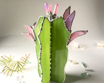 e0692a86b3ff1 Stained Glass Cactus. Cactus With Quartz Crystals. Green Cactus. Plants,  Succulent.
