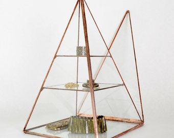 Glass Box Pyramid Display Box Stained Glass Display Box Clear Glass Jewelry Box Pyramid. Made To Order