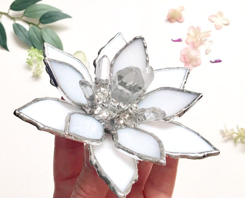 Stained Glass Lotus Flower Lotus With Quartz Crystal Wedding Etsy