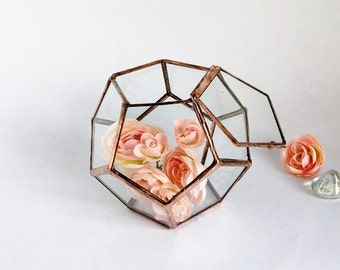 Geometric Glass Planter Terrarium, Handmade Glass Terrarium, Stained Glass, Modern Terrarium  for Indoor Gardening